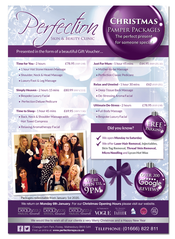 Perfection Christmas Pamper Packages 2019